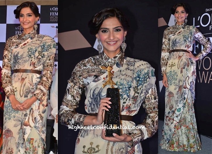 Sonam Kapoor In Anamika Khanna At L'Oréal Femina Women Awards '14 Press Meet-1