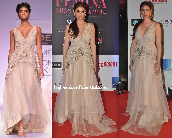 Aditi Rao Hydari In Jade At Femina Miss India 2014 Pageant-1