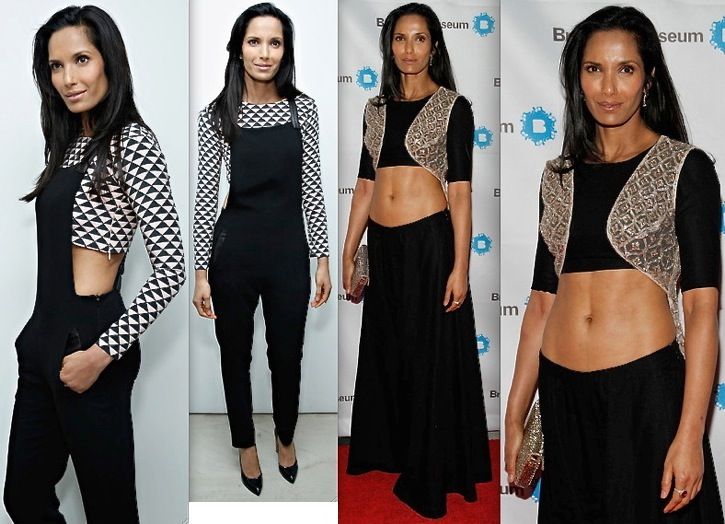Padma Lakshmi In Payal Singhal At Derek Lam & Jamie Wolf Black And White Jewelry Launch And At Brooklyn Museum's Brooklyn Artists Ball