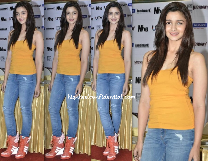 Alia Bhatt at Highway dvd launch in jeremy scott x adidas sneakers