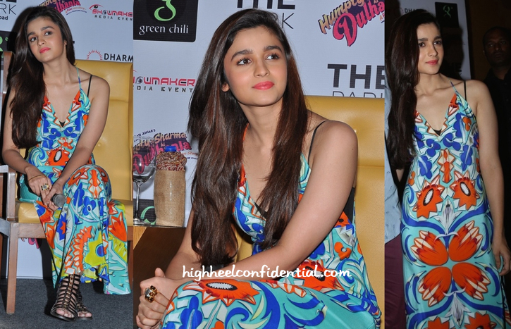 Alia Bhatt In Turquoise And Gold At Humpty Sharma Ki Dulhania Promotions In Hyderabad-1