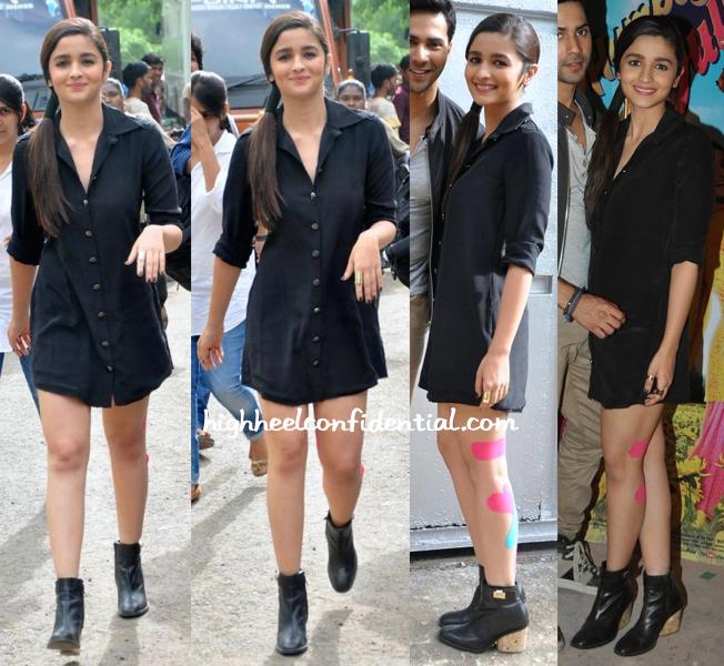 Alia Bhatt Wears Bare In Black To 'Humpty Sharma Ki Dulhania' Promotions