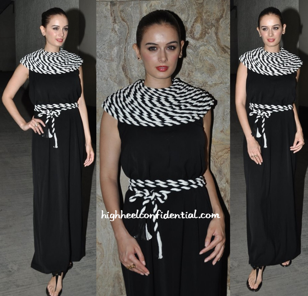 Evelyn Sharma In Urvashi Joneja At 'Chef' Screening-1