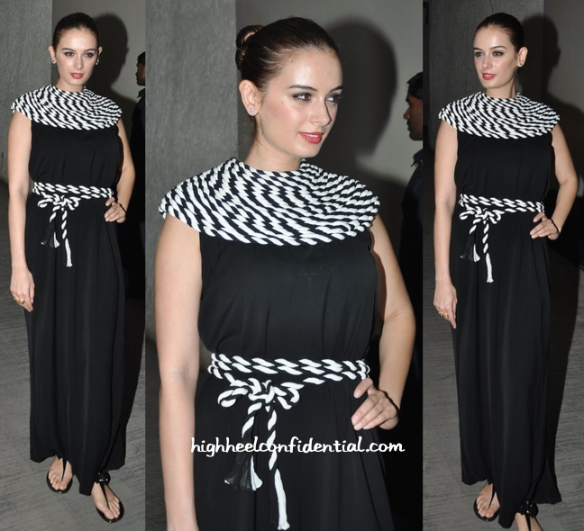 Evelyn Sharma In Urvashi Joneja At 'Chef' Screening-2