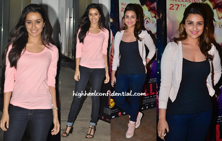 Shraddha Kapoor And Parineeti Chopra At Ek Villain Screening