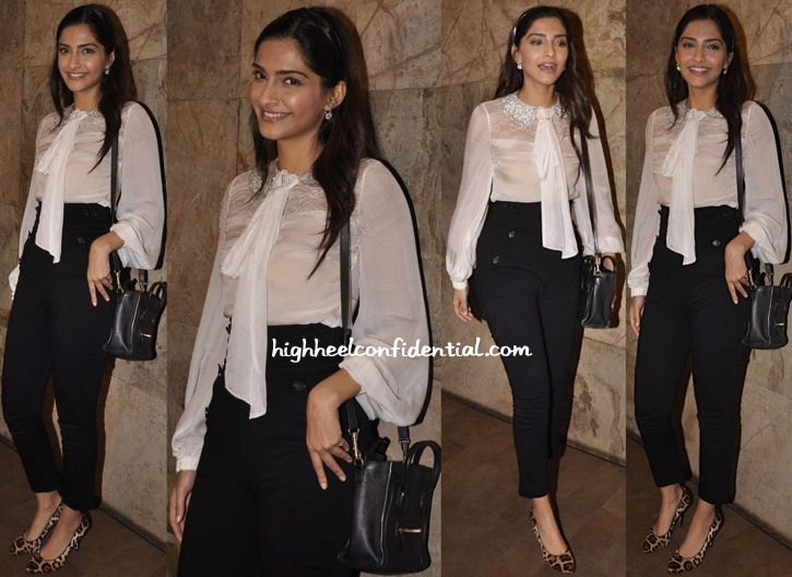 Sonam Kapoor In Shehlaa At 'Fugly' Screening
