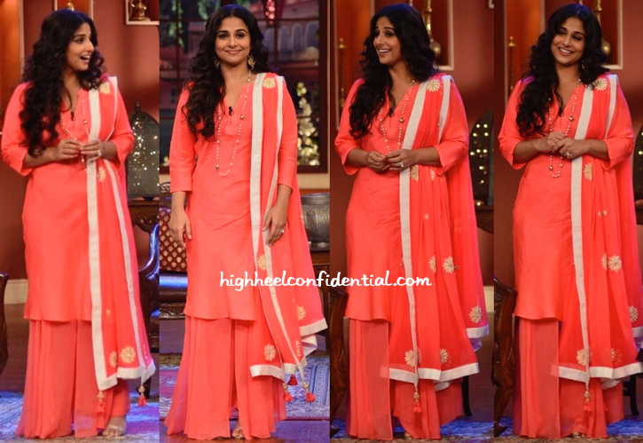 Vidya Balan In Nikasha On Comedy Nights With Kapil Sets For Bobby Jasoos Promotions-1