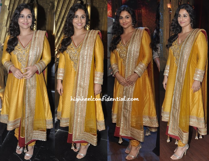 Vidya Balan In Ritu Kumar On entertainment ke liye kuch bhi karega sets For bobby jasoos-1