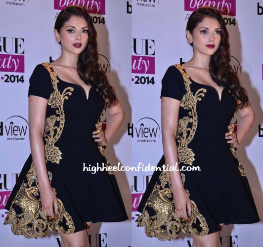 Aditi Rao Hydari In Monisha Jaising Couture At Vogue Beauty Awards 2014-2