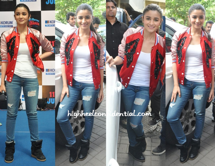 Alia Bhatt (In Topshop And Isabel Marant) At The Latest Round Of 'Humpty Sharma Ki Dulhania' Promotions