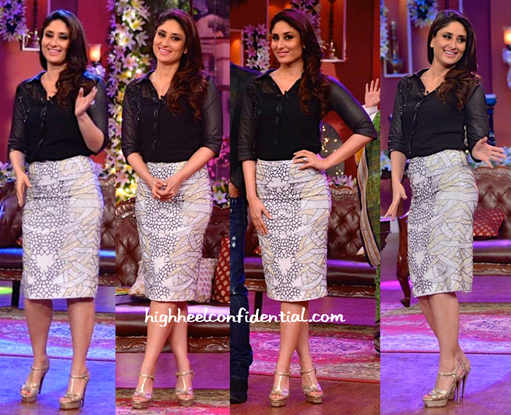 Kareena Kapoor (In Namrata Joshipura And Zara Umrigar) On 'Comedy Nights With Kapil' Sets For 'Singham Returns' Promotions