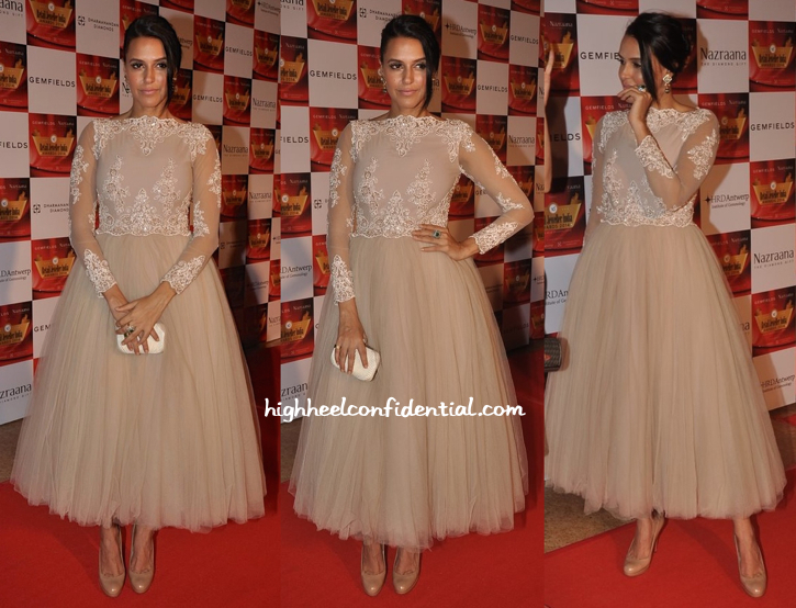 Neha Dhupia In Hema Kaul And Anmol At Gemfields Retail Jeweller India Awards 2014-1