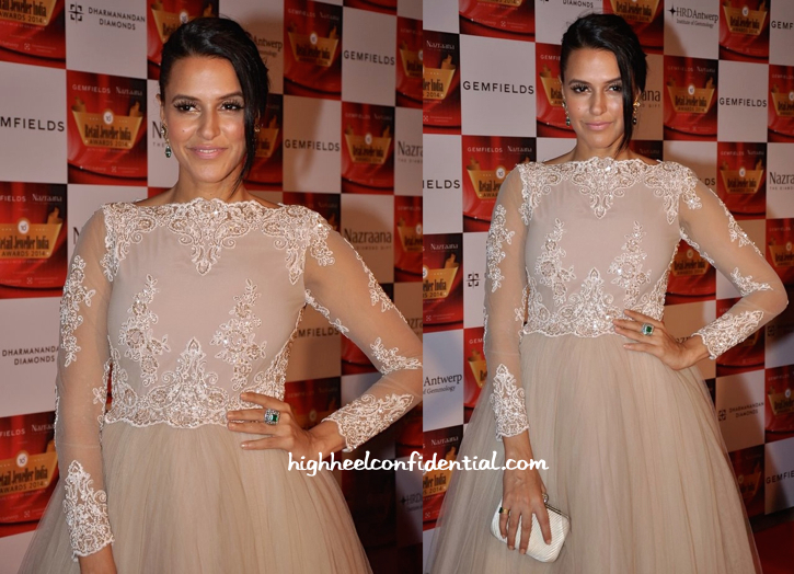 Neha Dhupia In Hema Kaul And Anmol At Gemfields Retail Jeweller India Awards 2014-2