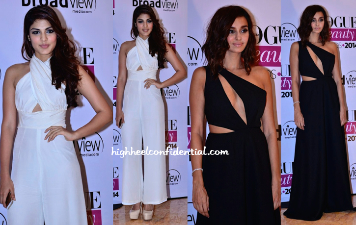 Shibani Dandekar And Rhea Chakraborty At Vogue Beauty Awards 2014