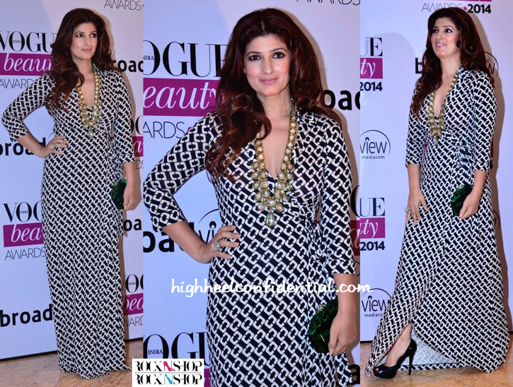 Twinkle Khanna In DvF At Vogue Beauty Awards 2014