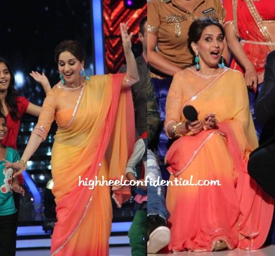 madhuri-dixit-tarun-tahiliani-jhalak-dikhhla-jaa-orange-sari