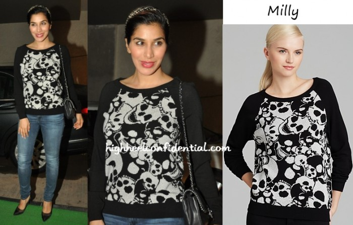 sophie-choudry-bobby-jasoos-screening-milly-skull-sweatshirt
