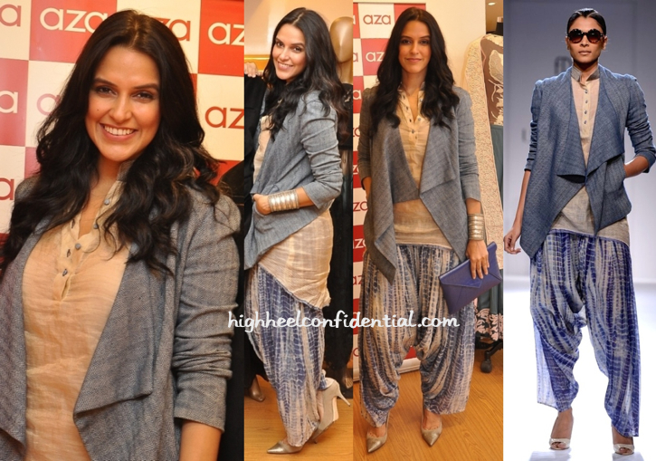 Neha Dhupia In Urvashi Kaur At Varun Bahl's Collection Preview-Launch At Aza