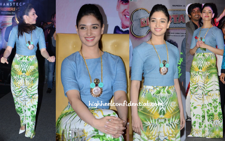 Tamannaah Bhatia Wears Alice + Olivia And Valliyan To Promote 'Entertainment' In Hyderabad-1
