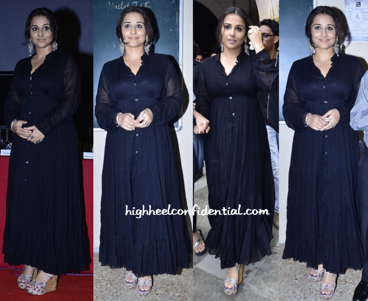 Vidya Balan in a vintage maxi and Amrapali jewelry at SmartCane launch-1