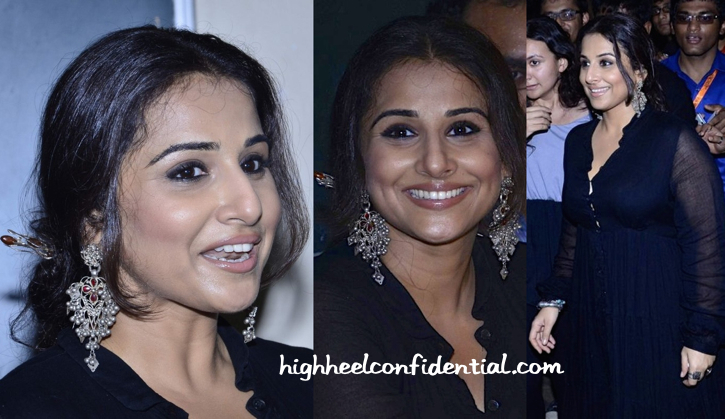 Vidya Balan in a vintage maxi and Amrapali jewelry at SmartCane launch-2