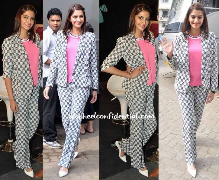 Wearing Isabel Marant, Sonam Kapoor Promotes 'Khoobsurat' On 'Captain Tiao' Sets-1
