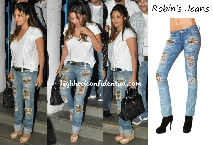gauri-khan-robins-jeans-studded-olive-birthday-party