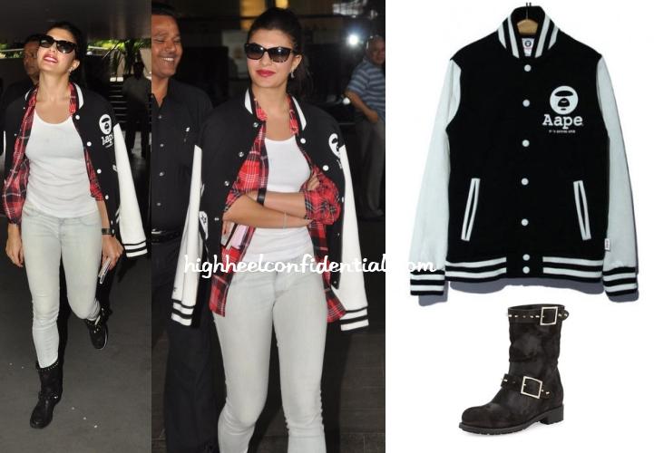 jacqueline-fernandez-aape-jacket-choo-boots-airport-poland