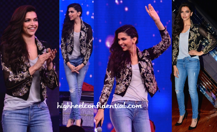 Deepika Padukone Wears Falguni And Shane Peacock To India's Raw Star Sets For Finding Fanny Promotions-2