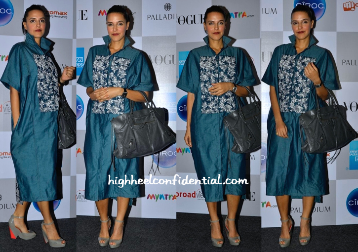Neha Dhupia Wears Ilk By Shikha & Vinita To Vogue India's Fashion's Night Out