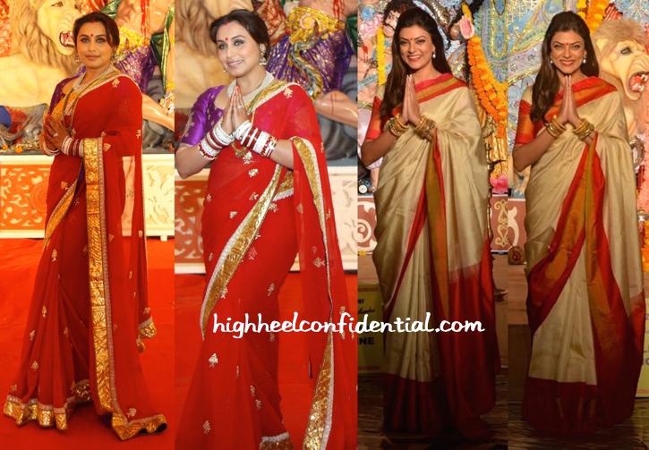 Rani Mukherjee And Sushmita Sen Photographed At Durga Puja Celebrations-1