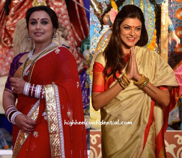 Rani Mukherjee And Sushmita Sen Photographed At Durga Puja Celebrations-2