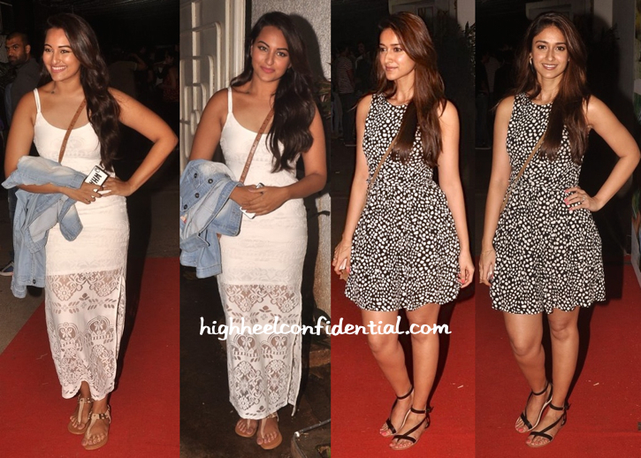 Sonakshi Sinha And Ileana D'Cruz At Finding Fanny Screening-1