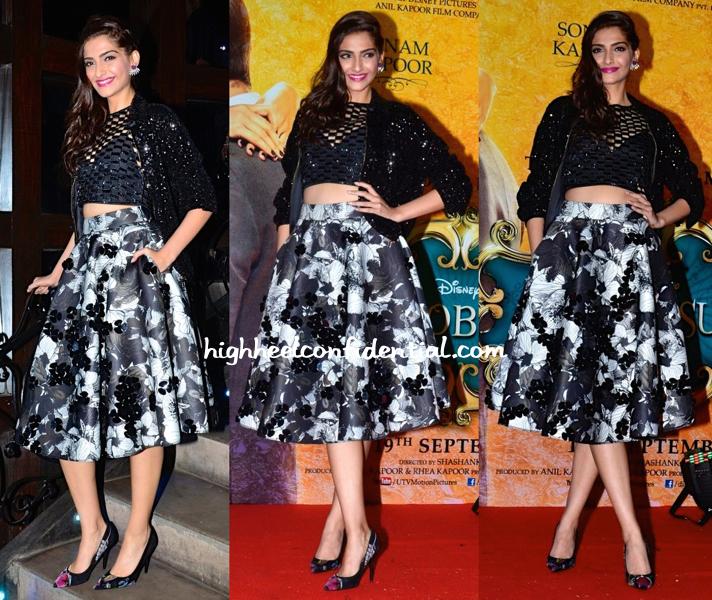 Sonam Kapoor In Dior, Urvashi Joneja, DRVV And Prerto At Khoobsurat's Music Launch-1