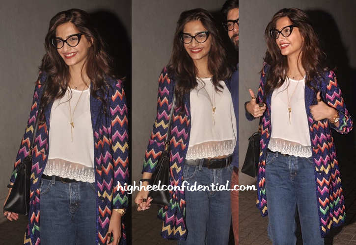 Sonam Kapoor Wears Missoni To 'Khoobsurat' Screening-2