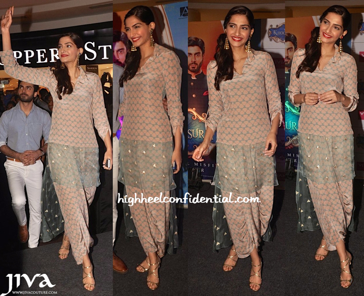 Sonam Kapoor Wears Payal Singhal To Khoobsurat Promotions (And Later To Finding Fanny Screening)-1