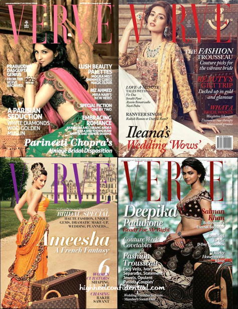 Verve Bridal Issues With Deepika Padukone-parineeti chopra-ileana d cruz and ameesha patel