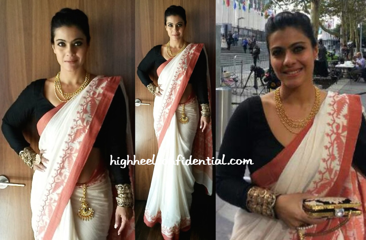 kajol wears sabyasachi to UN