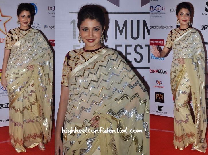 Anushka Sharma In Abu Jani Sandeep Khosla At Mumbai Film Festival 2014 Closing Night