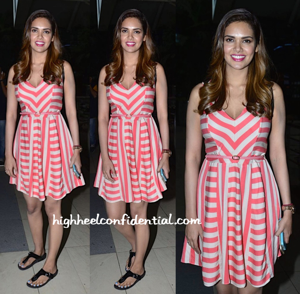 Esha Gupta Photographed In An Oasis Dress At Mumbai Airport