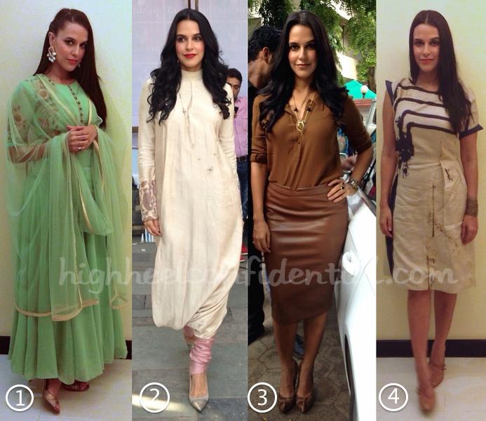 Neha Dhupia Wears Zara, Lecoanet Hemant, Shantanu And Nikhil, Bhumika Sharma And Sneha Arora To Ekkees Toppon Ki Salaami Promotions-2