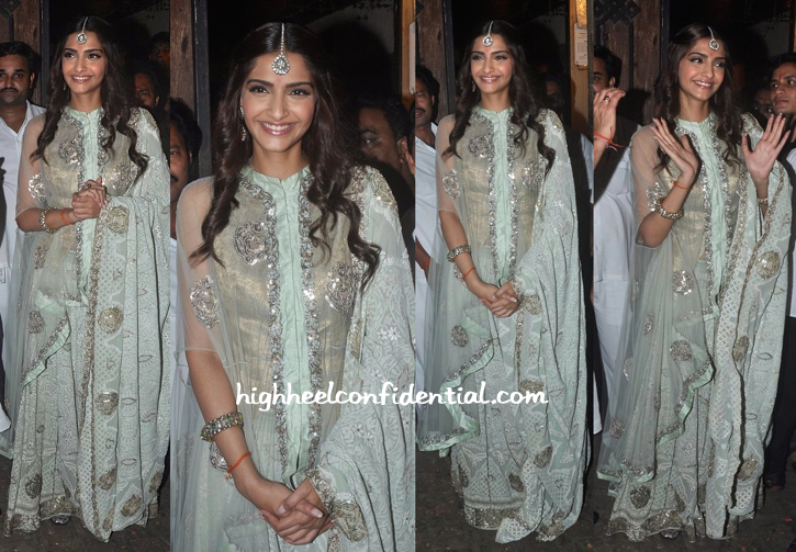 Sonam Kapoor In Anamika Khanna At Bachchans' Diwali Bash
