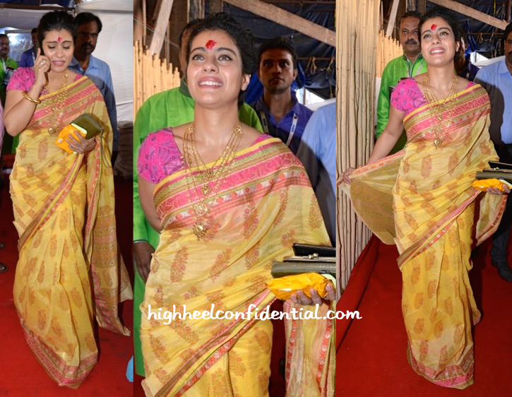 kajol in amrapali at durga puja celebrations