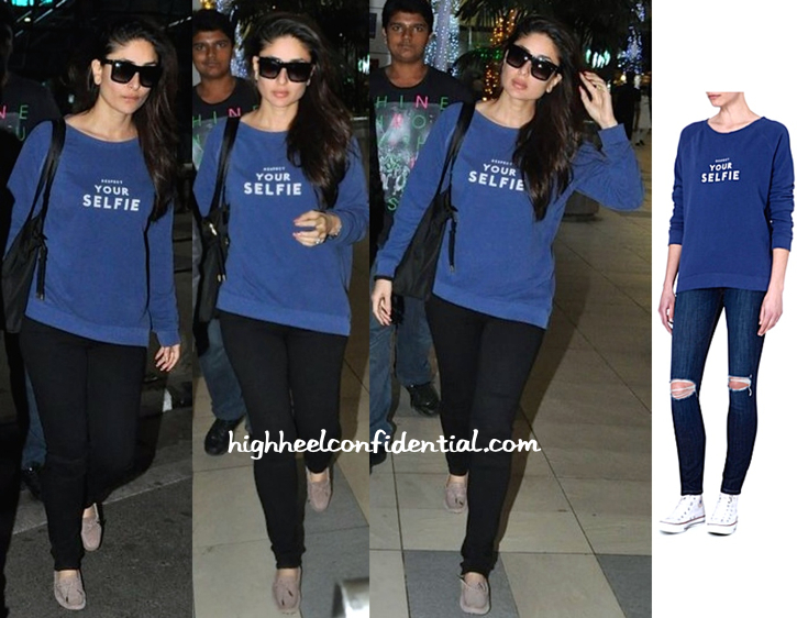 kareena kapoor-mumbai airport-selfridges sweatshirt