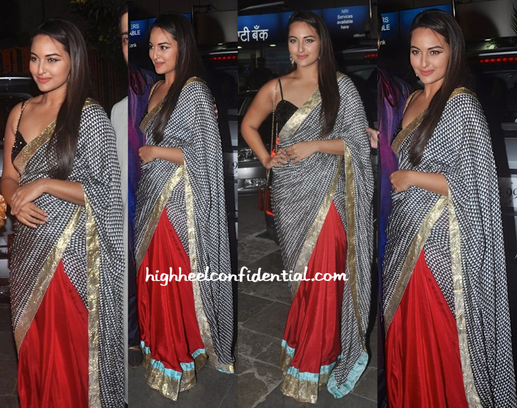 sonakshi sinha in masaba at bachchans diwali bash