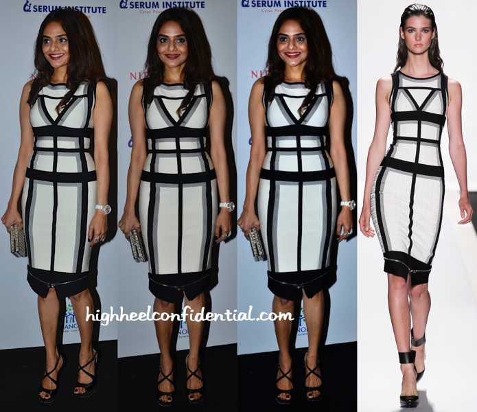 Madhoo Shah In Hervé Léger Spring 2014 At Hello! Hall Of Fame Awards 2014