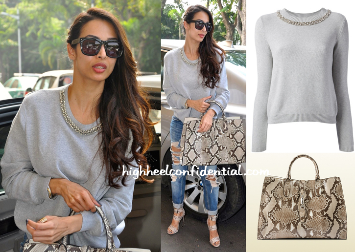 Malaika Arora Khan Photographed In Pinko And Gucci At The Mumbai Airport-1