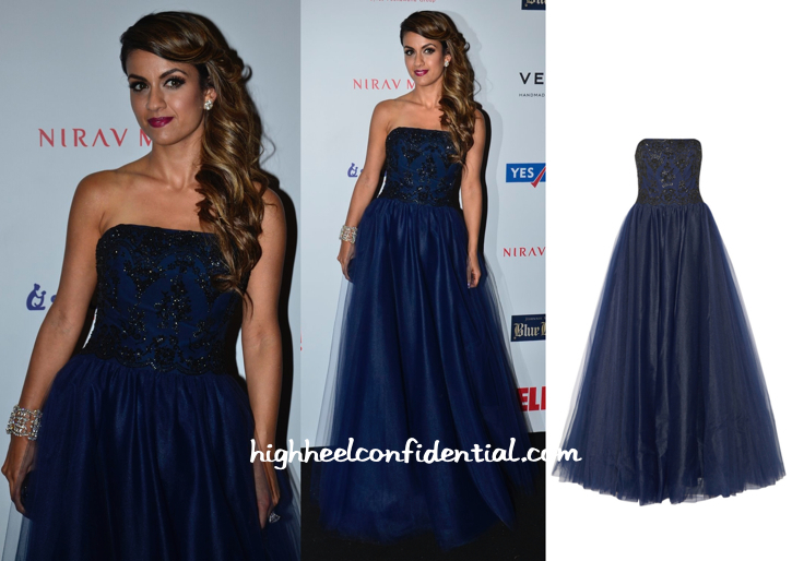 Natasha Poonawala In Notte By Marchesa At Hello! Hall Of Fame Awards 2014