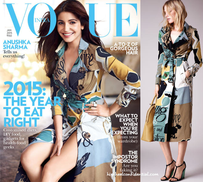 Anushka Sharma Covers Vogue's January 2015 Cover Wearing Burberry Resort 2015