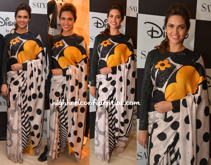 Esha Gupta In Masaba For Satya Paul Sari At The Collection Launch-1